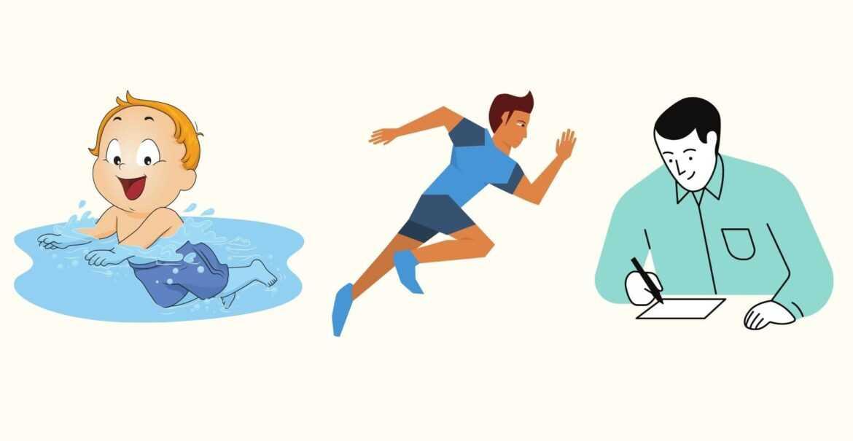 yüzme, koşma, kitap okuma