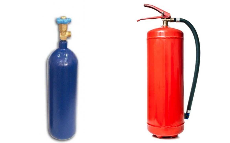 oksijen ve yangın söndürme tüpü